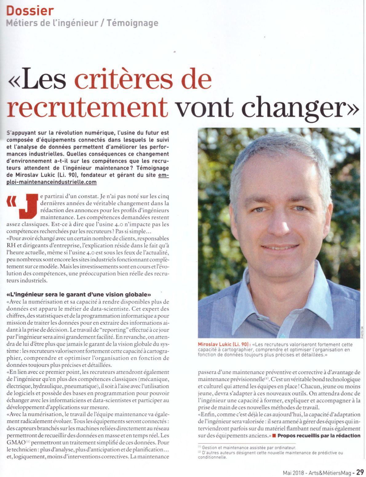 Compétence de l'ingénieur maintenance : Les critères de recrutement vont changer