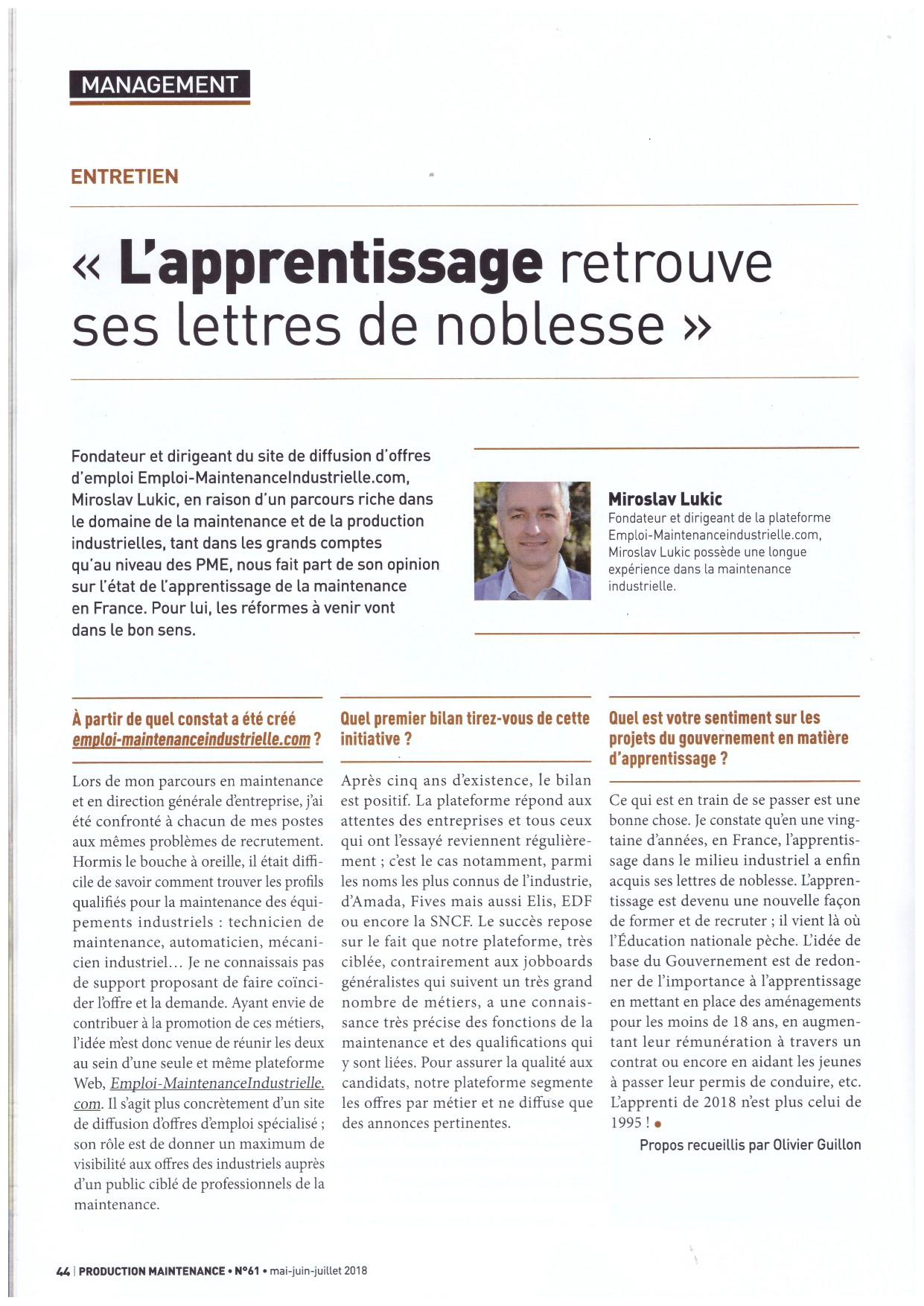 interview Miroslav Lukic l'apprentissage retrouve ses lettres de noblesse